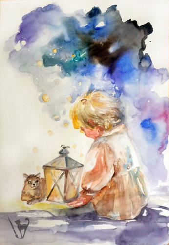Дете с фенер и котка